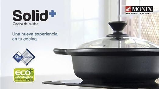 Monix Solid+ - Wok/Cacerola cóncava 28 cm de aluminio fundido con antiadherente Teflon® Classic.: Amazon.es: Hogar