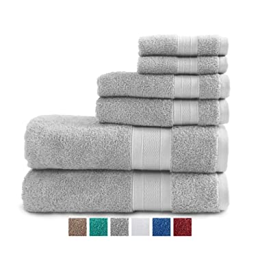 TRIDENT 100% Cotton Towels, 6 Piece Set - 2 Bath Towels, 2 Hand Towels, 2 Washcloths, Super Soft and Highly Absorbent, Soft & Plush Bath Towels, 14 lbs/dzn (Silver)