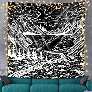 Black and White Mountain Tapestry Wall Hanging, Black Forest Tree Landscape Wall Tapestries Psychedelic Tapestry for Bedroom Aesthetic College Dorm Home Decor, 59 x 59 inches