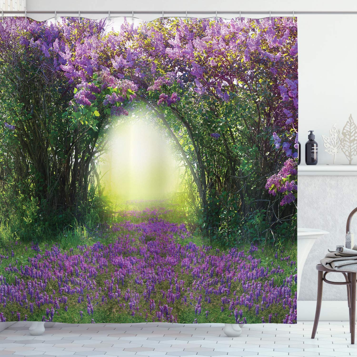 """Ambesonne Garden Shower Curtain, Magic Misty Forest View Spring Blossoms Bushes Greenery Grasses Sun Rays, Cloth Fabric Bathroom Decor Set with Hooks, 84"""" Long Extra, Lavender Green"""