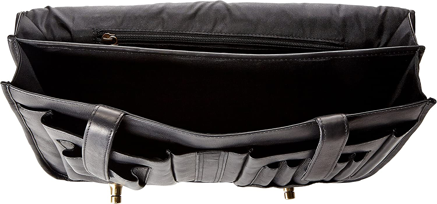 One Size Black Claire Chase Leather Messenger Briefcase