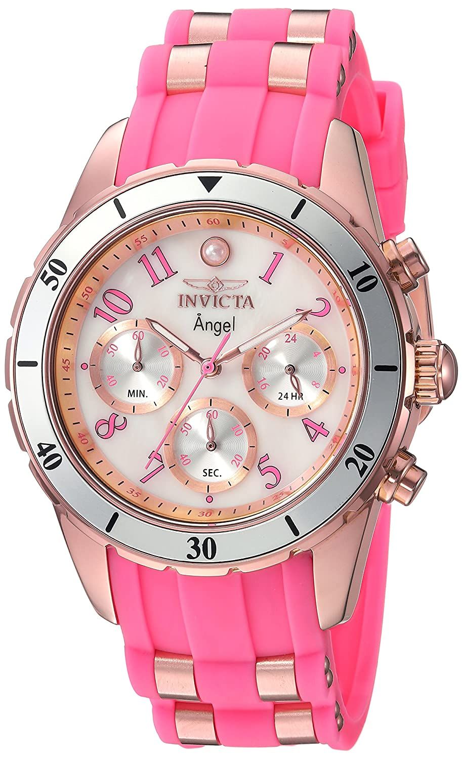 Invicta Women s Angel Quartz Watch with Silicone Stainless Steel Strap, Pink, 20 Model 24900