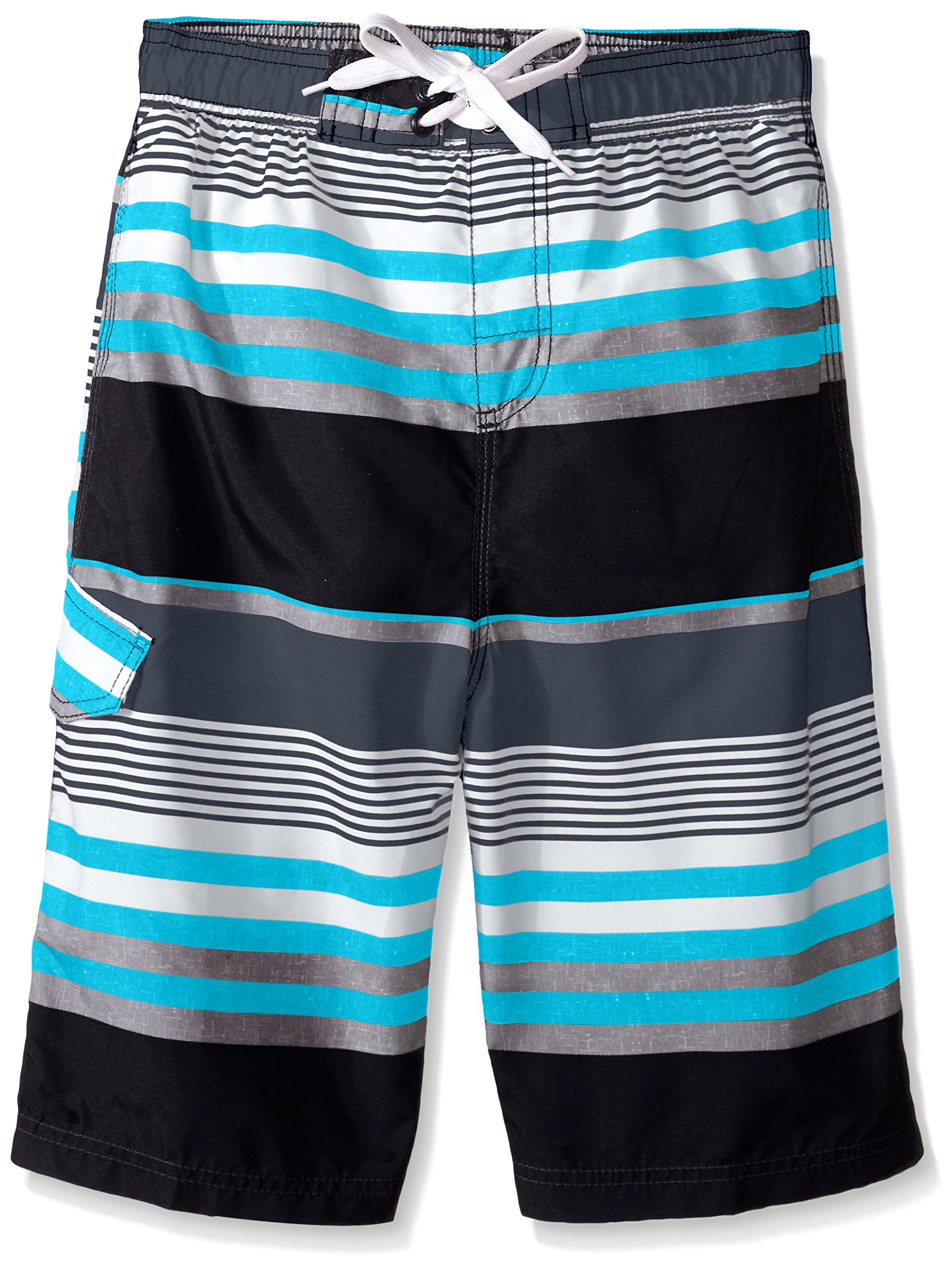Kanu Surf Big Boys' Optic Quick Dry Beach Swim Trunk, Black/Aqua, Large (14/16)