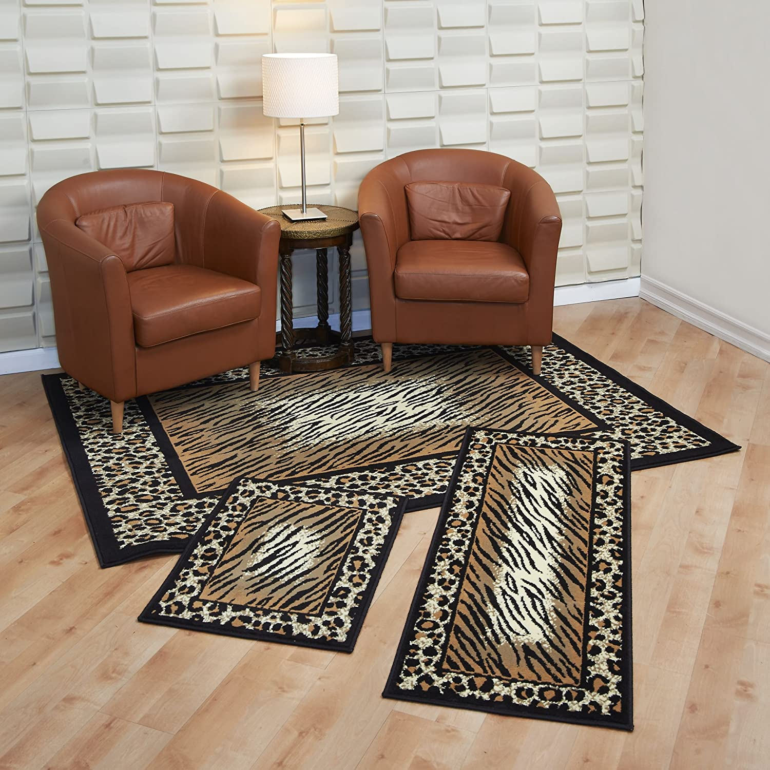 Amazon com maya collection 3 pc area rug set size 5x7 rug 22x59 runner 22x31 mat leopard and tiger kitchen dining