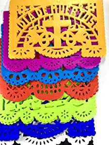 Fiesta Brands 30 Frontales Pack Altar de Ofrendas Dia de Muertos Day of The Dead Decoration Colorful Medium Size Tissue Paper Mexican Papel Picado.