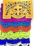 "30 Frontales pack Altar de Ofrendas Dia de Muertos""Day of the Dead"" Decoration Colorful Medium Size Tissue Paper Mexican Papel Picado."