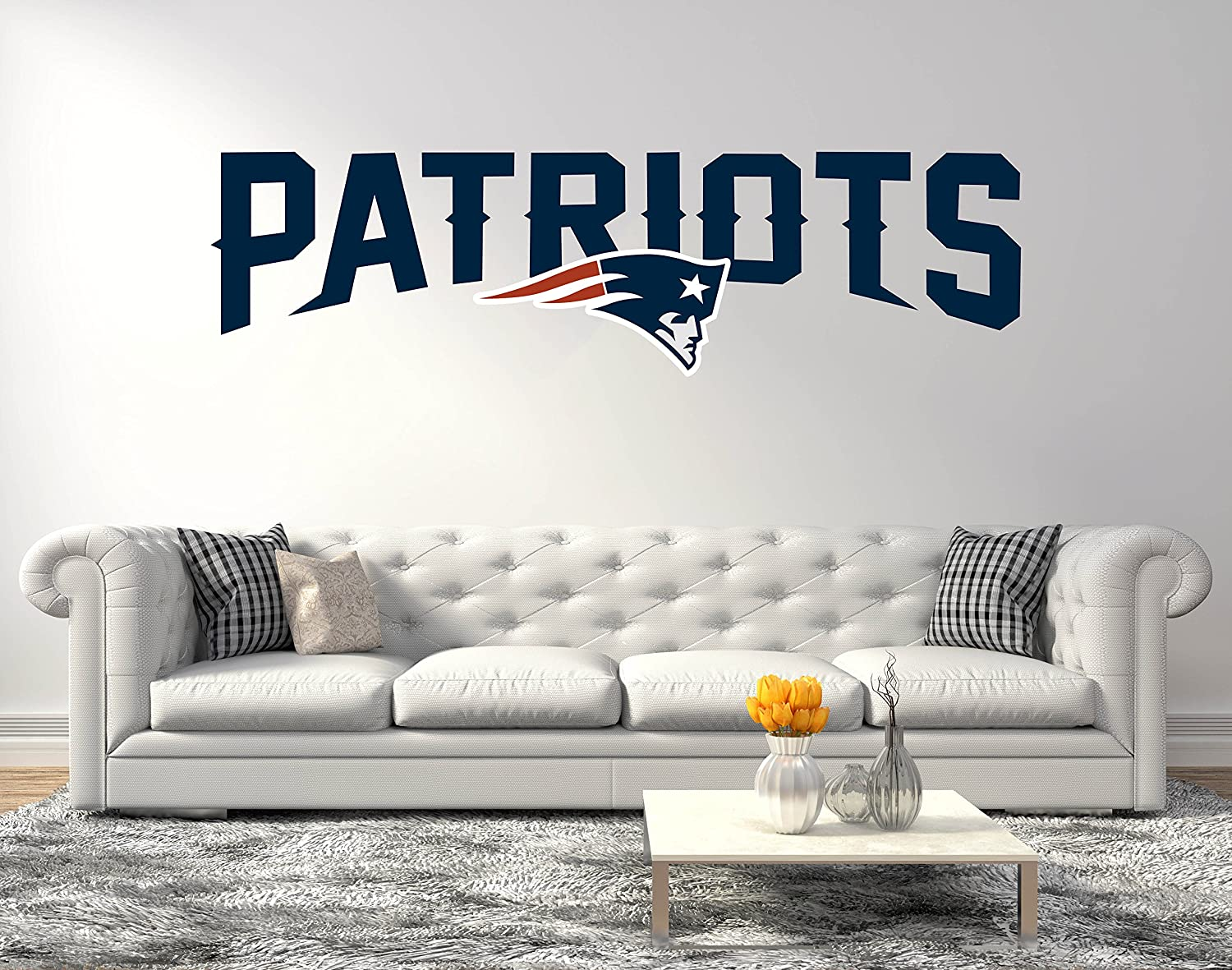 "American Football Team New England P - Quote Super Bowl Teams - Wall Decal for Home Decoration (Wide 30""x10"" Height Inches)"
