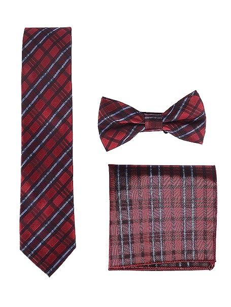 Conjunto de 3 piezas pajarita + corbata + pañuelo en color rojo a cuadros ideal para banquetes, bodas, fiestas.