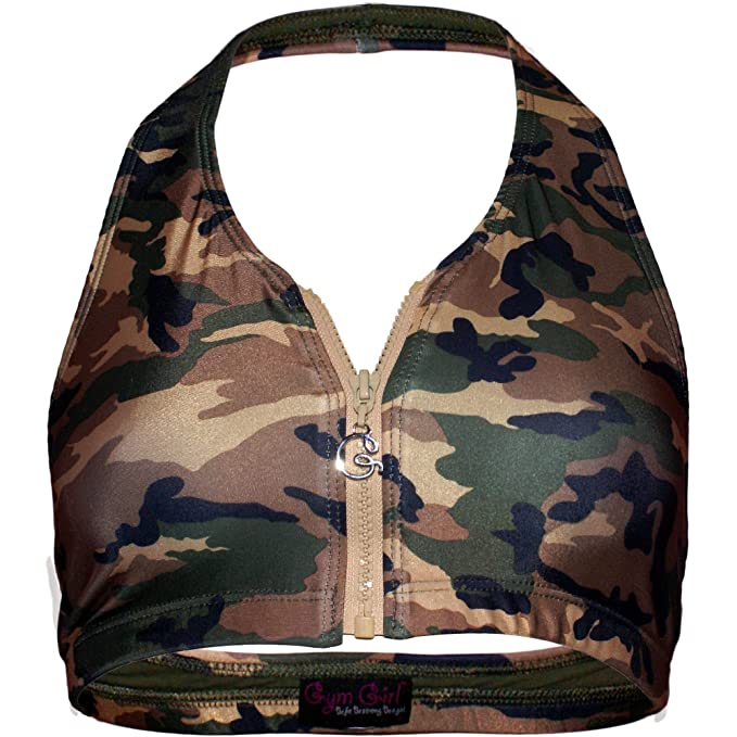 Gym Girl Zip Front Sport Bra Halter Style in Under Cover Green Camouflage  at Amazon Women s Clothing store