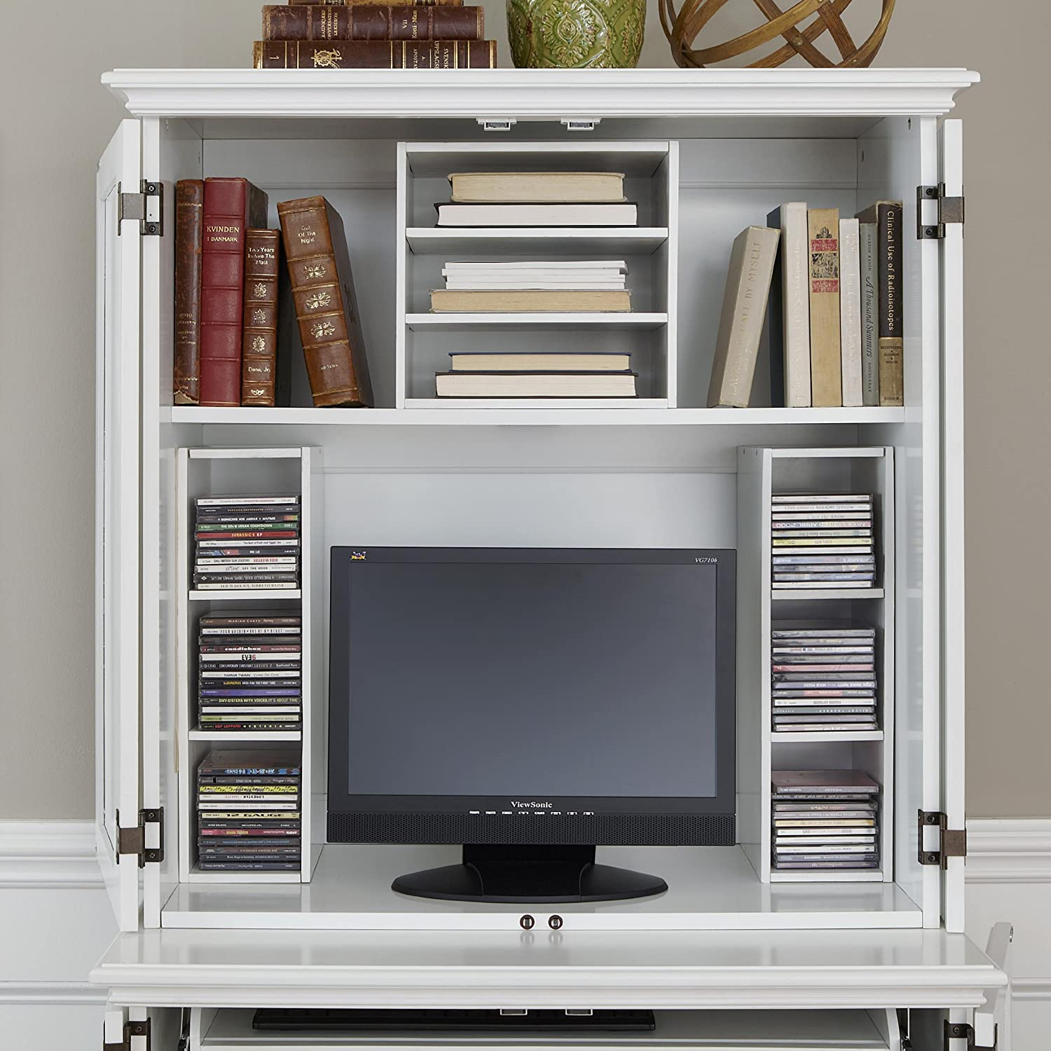Amazon.com: Home Styles 5543 190 Bermuda Compact Computer Cabinet And  Hutch, Brushed White: Kitchen U0026 Dining