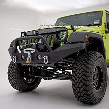 Jeep Wrangler Jk Front Bumper >> Amazon Com Restyling Factory Full Width Front Bumper With Fog