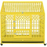 SMONTER Heavy Duty Strong Metal Dog Cage Pet Kennel Crate Playpen with Wheels, Y Shape