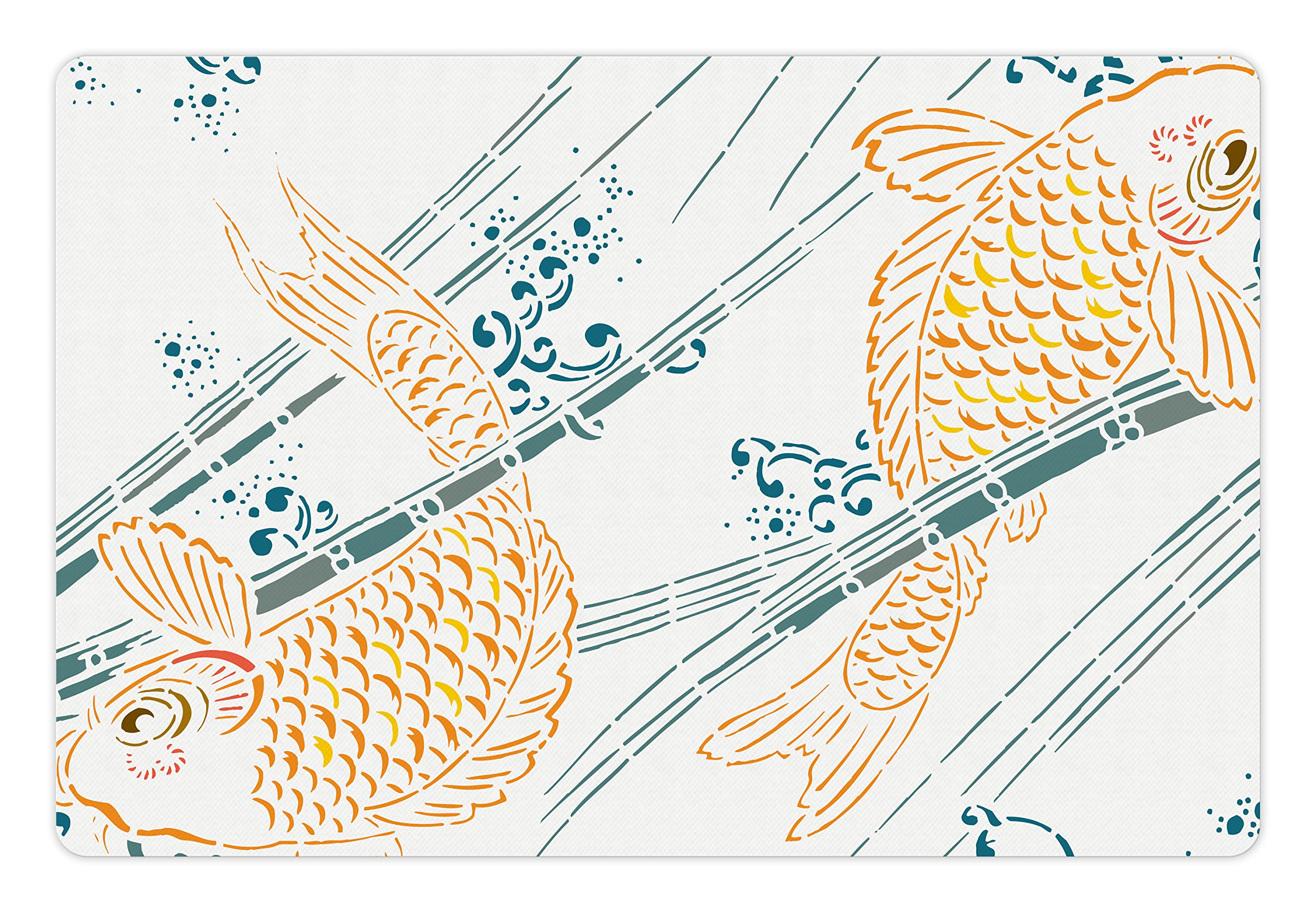 Lunarable Japanese Pet Mat for Food and Water, Asian Koi Fish Pattern in Ink Paint Oriental Spiritual Themed Picture, Rectangle Non-Slip Rubber Mat for Dogs and Cats, Petrol Blue Marigold