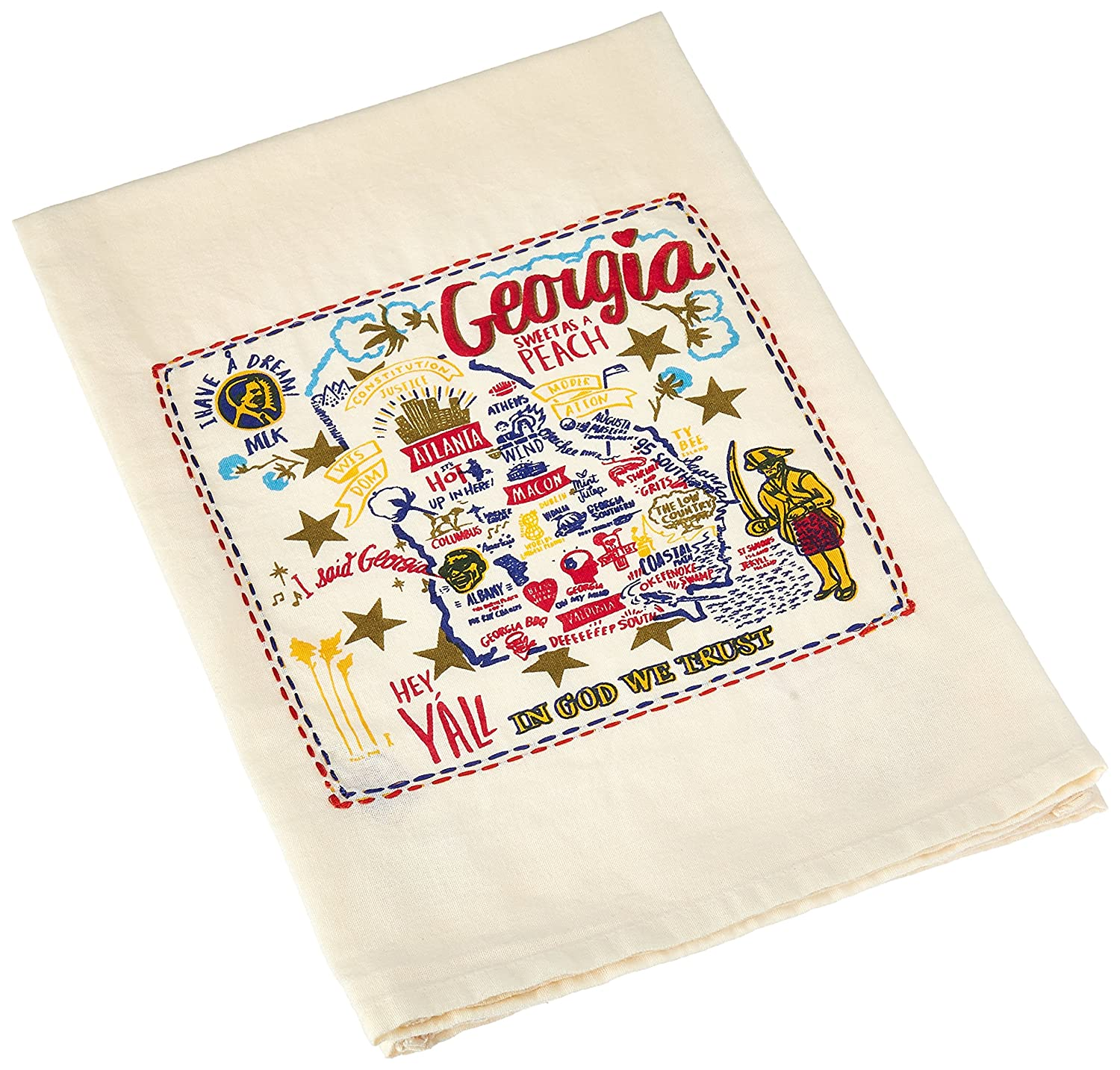 Primitives by Kathy Embroidered LOL Made You Smile Dish Towel Georgia
