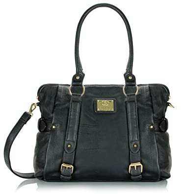 aba578022c Amazon.com  Scarleton Medium Belt Accent Tote Bag H126401 - Black  Shoes