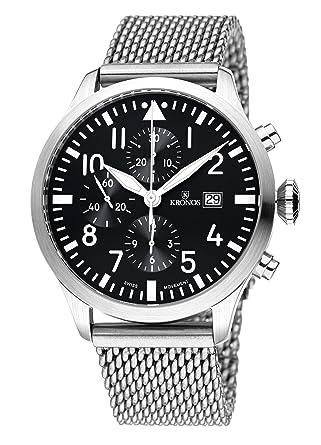 5278431ba Kronos - Pilot Automatic Chronograph Black 991.8.55 - Knight Clock Automatic  Dial, Steel Bracelet, Colour: Black: Amazon.co.uk: Watches