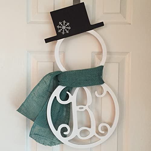 monogram snowman door hanger winter door hanger snowman initial wreath monogram snowman wreath