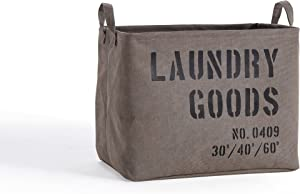 Danya B. LY117 Decorative Canvas Laundry Basket with Handles - Portable Collapsible Foldable Clothes Hamper - Khaki Green