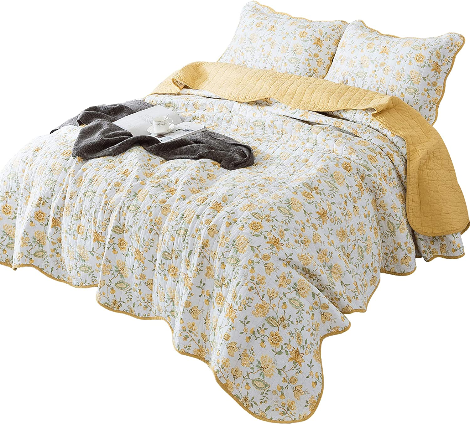 3 Piece Quilt Set, 100% Cotton Printed, Oversize Twin, Queen and King. Floral Pattern, Pre-Washed Soft, Lightweight Quilt, Coverlet and Bedspread, Good for All Seasons. (Yellow Floral, Oversize King)