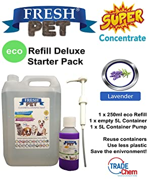 Trade Chemicals Fresh Pet - Desinfectante ecológico para caseta (250 ml) con vacío 5 l + bomba: Amazon.es: Productos para mascotas