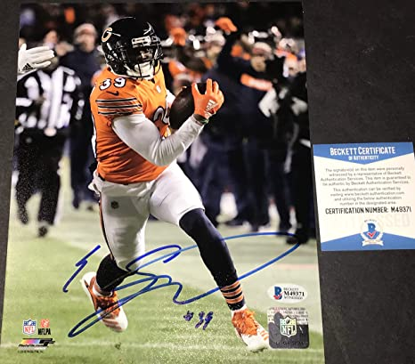 bdff2cfd8 Eddie Jackson Chicago Bears Autographed Signed 8x10 BECKETT WITNESS COA  Orange