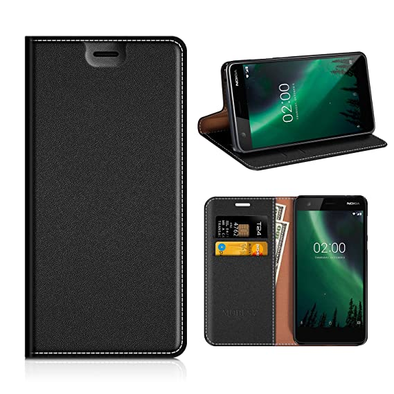 low priced 6a334 8fd86 Nokia 2 Wallet Case, Mobesv Nokia 2 Leather Case/Phone Flip Book  Cover/Viewing Stand/Card Holder for Nokia 2, Black