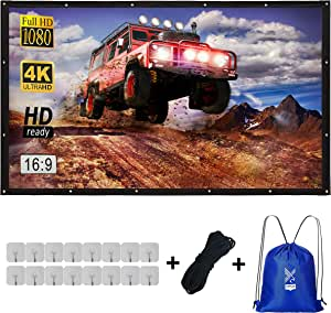 Varmax Projector Screen 150 inch 16:9 Movie Screen with Foldable Canvas Fabric, for Outdoor Indoor Movie Night, Camping, Hiking, Backyard Home Theater 343 x 198 cm