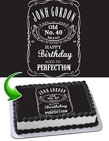 Jack Daniels Edible Cake Topper Personalized Birthday 14 Sheet