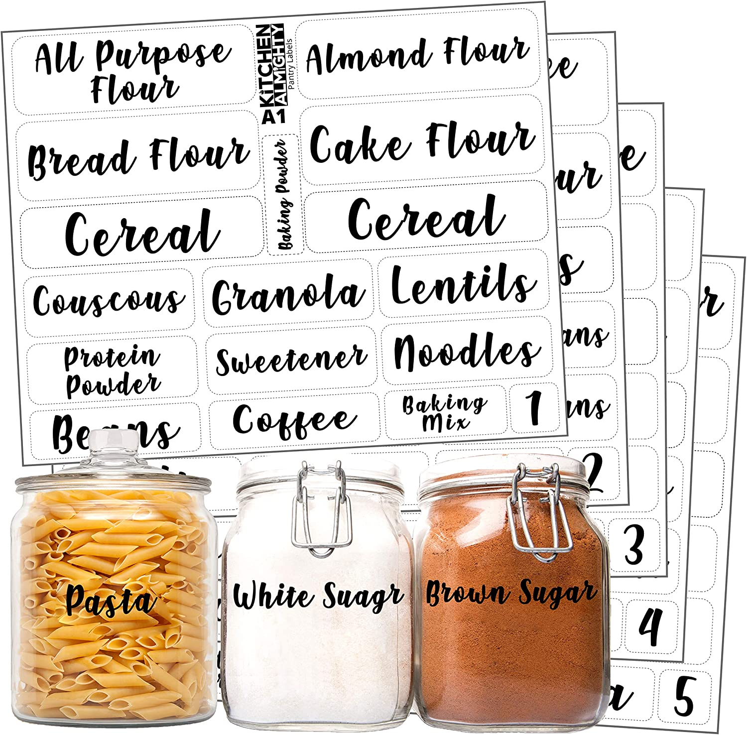Kitchen Pantry Food Organization Clear Labels: 102 Attractive Gloss Artistic Preprinted Water Resistant Label Set to Organize Storage Containers, Jars & Canisters w/Extra Write-on Stickers