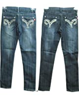 Girls Sizes 7/8/10/12/14 Stretchable Denim 5 Pockets Embroidered Jeans. Skinny Cut.