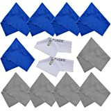 Eco-Fused Microfiber Cleaning Cloths - 10 Cloths and 2 White Cloths - Ideal for Cleaning Glasses, Camera Lenses, Tablets, iPhone, Android Phones, LCD Screens 5 Blue + 5 Grey
