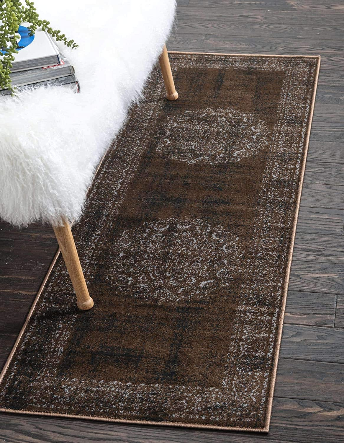 Unique Loom Imperial Collection Modern Traditional Vintage Distressed Chocolate Brown Runner Rug (3' 0 x 9' 10)