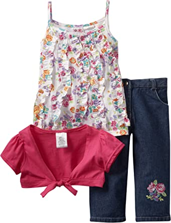 Young Hearts Pink 2 Piece Outfit Capri Denim Pants Kids Girls Size 5 New