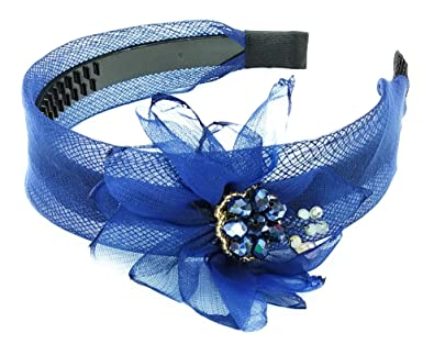 36991c695d Buy Blue Colour Flower with Crystal Stones Premium Quality Fascinator  Headband for Girls and Women's (Thickness 4cm) Online at Low Prices in  India | Amazon ...