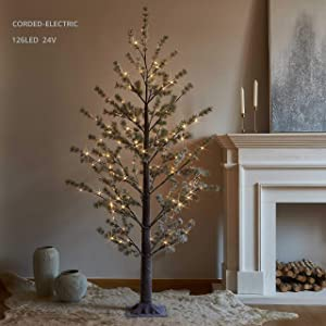 LITBLOOM Pre lit Faux Noway Christmas Pine Tree Lights 6FT 126 Warm White LED for Indoor Outdoor Home Decoration
