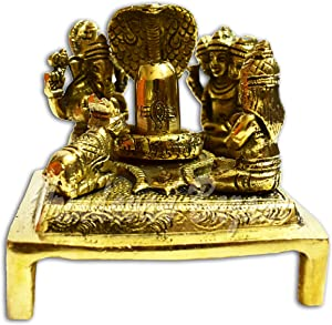 VRINDAVANBAZAAR.COM Brass Shiva Lingam Statue with Shiv Family Parvati, Nandi, Ganesh, Kartik and Snake on Shivling (9cm x 9cm x 10cm); Weight- 770 Grams