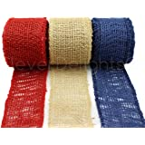 """CleverDelights 2"""" Burlap Ribbon - Finished Edge - 30 Yards - Red, Natural, Navy Blue Color Combo Pack"""