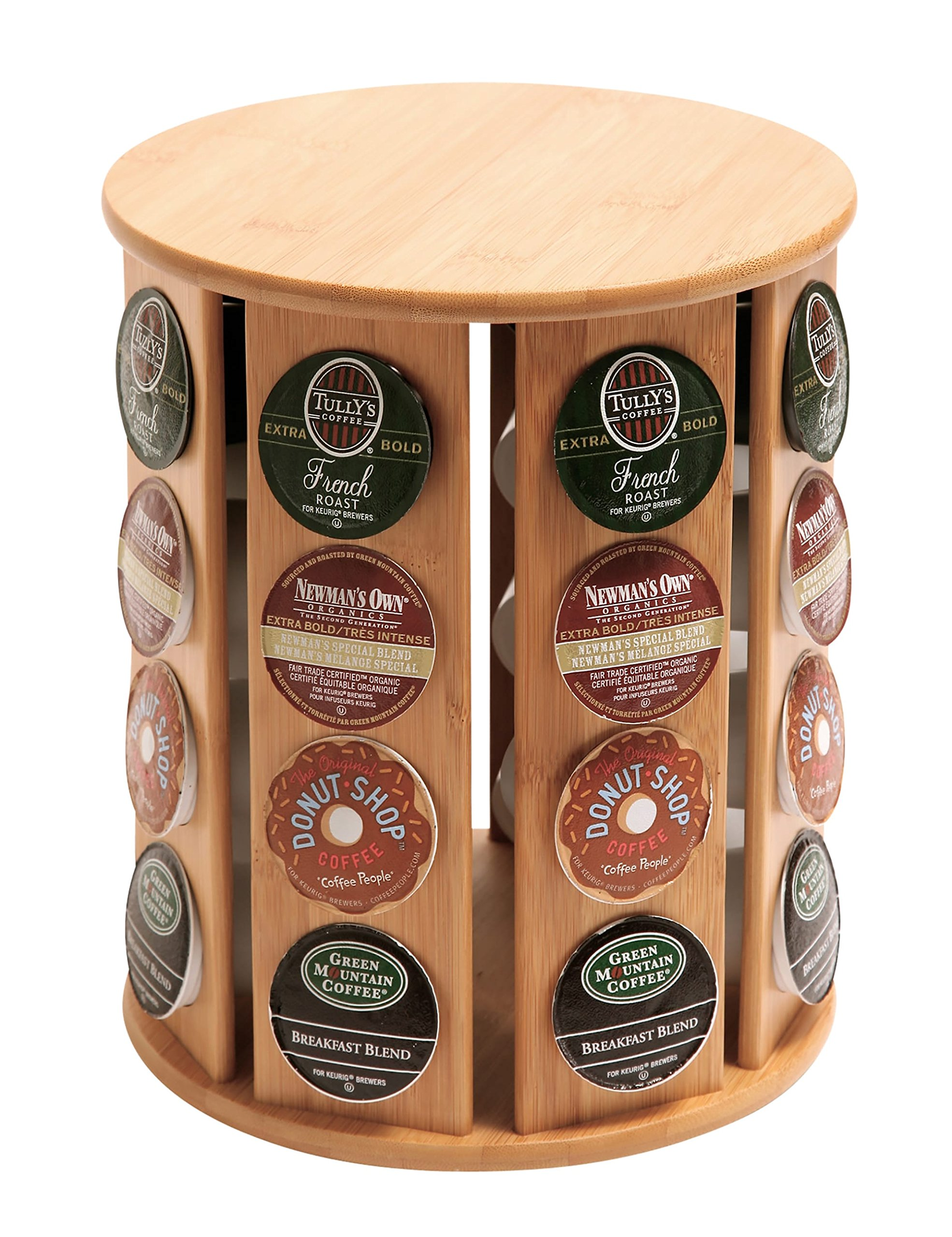 QI Bamboo Rotating Coffee Storage Keurig K-Cup Compatible Pod Holder Dispenser (10658)