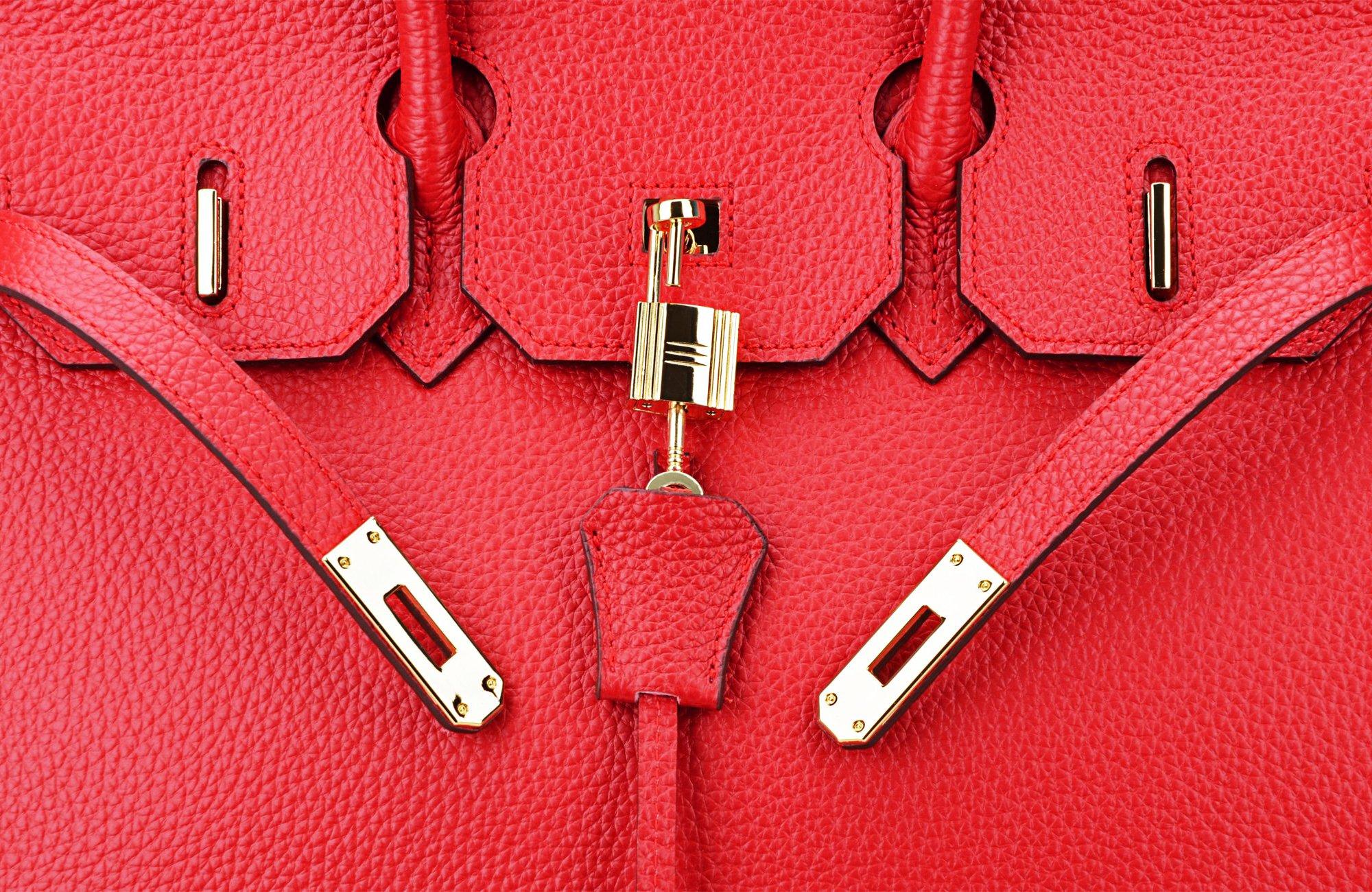 SanMario Designer Handbag Top Handle Padlock Women's Leather Bag with Golden Hardware Red 35cm/14'' by SanMario (Image #7)