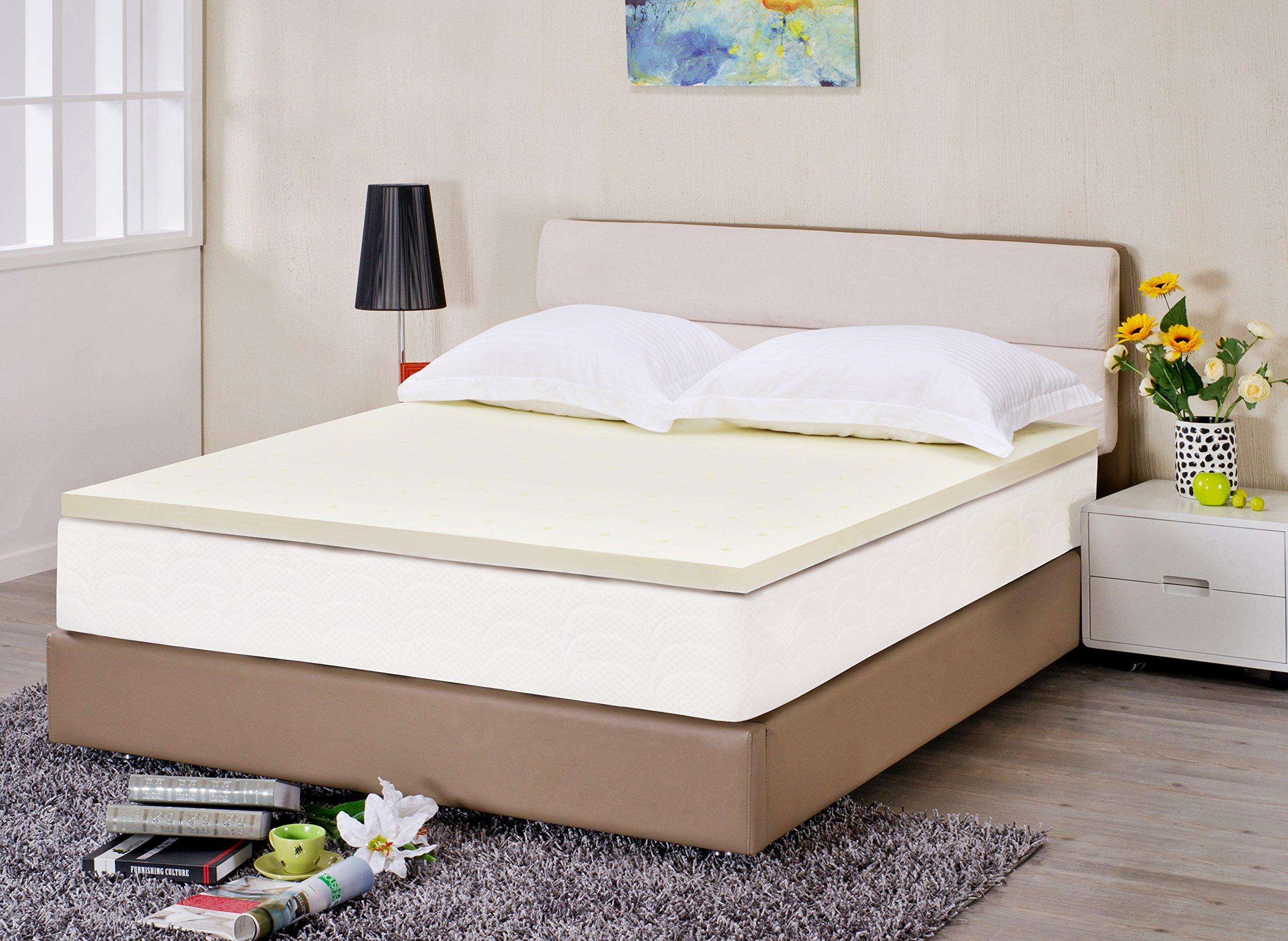 Superior 2'' Ventilated Memory Foam Mattress Topper, High Density Premium Visco Elastic Memory Foam for Neck & Back Support - California King Bed
