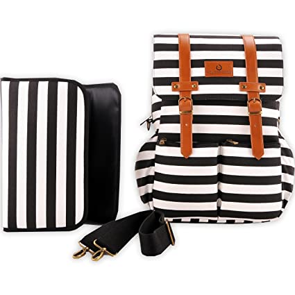 Kaydee Baby Canvas Diaper Tote Backpack Bag with Stroller Straps - Black and White Stripes - Includes Baby Changing Pad and Carrying Strap - Perfect Gift for Baby Registry for Mom and Dad
