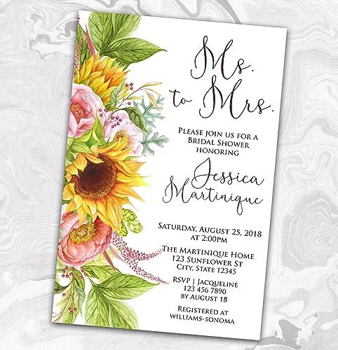 rustic sunflower bridal shower invitation wedding rehearsal couples summer autumn 4x6