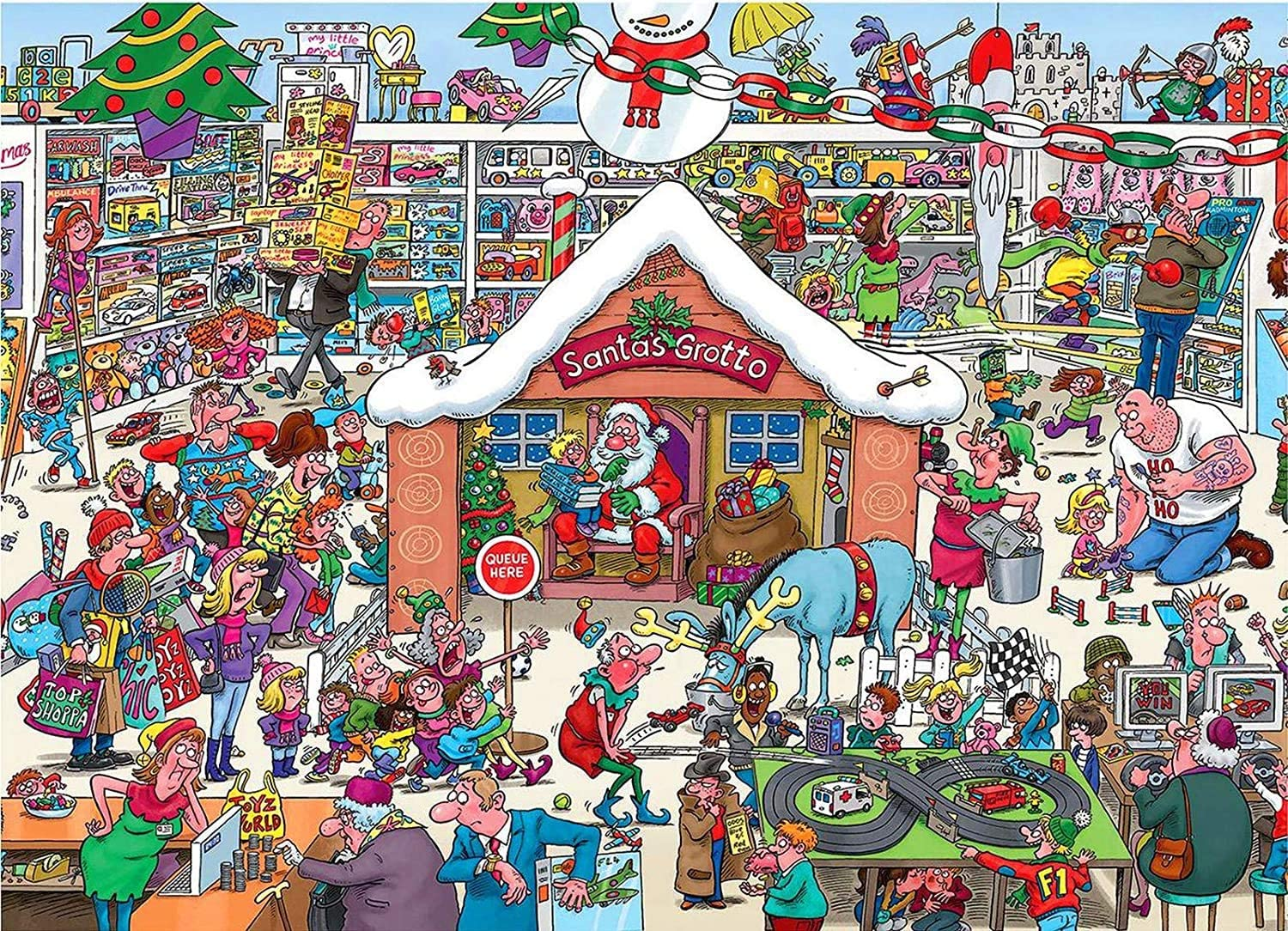 1000 Pieces Wooden Puzzle,Christmas Shop,Christmas Town Jigsaw Puzzles – Every Piece is Unique, Softclick Technology Means Pieces Fit Together Perfectly