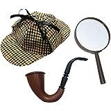 I Love Fancy Dress - Juego de accesorios para disfraz de Sherlock Holmes (incluye gorra de cazador, pipa de estilo victoriano y lupa)