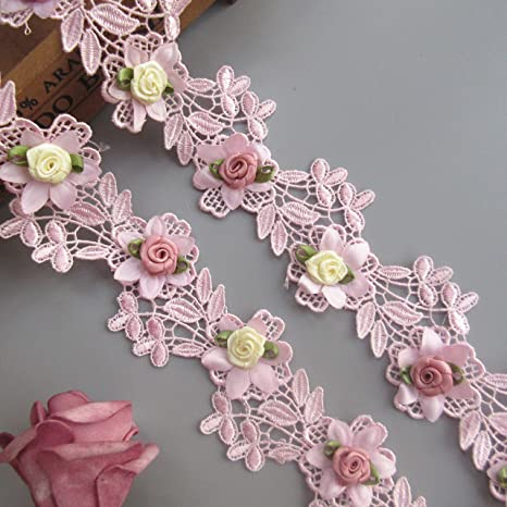 2 Meters Pink Flower Pearl Rose Lace Trim Ribbon Wedding Applique Sewing Craft