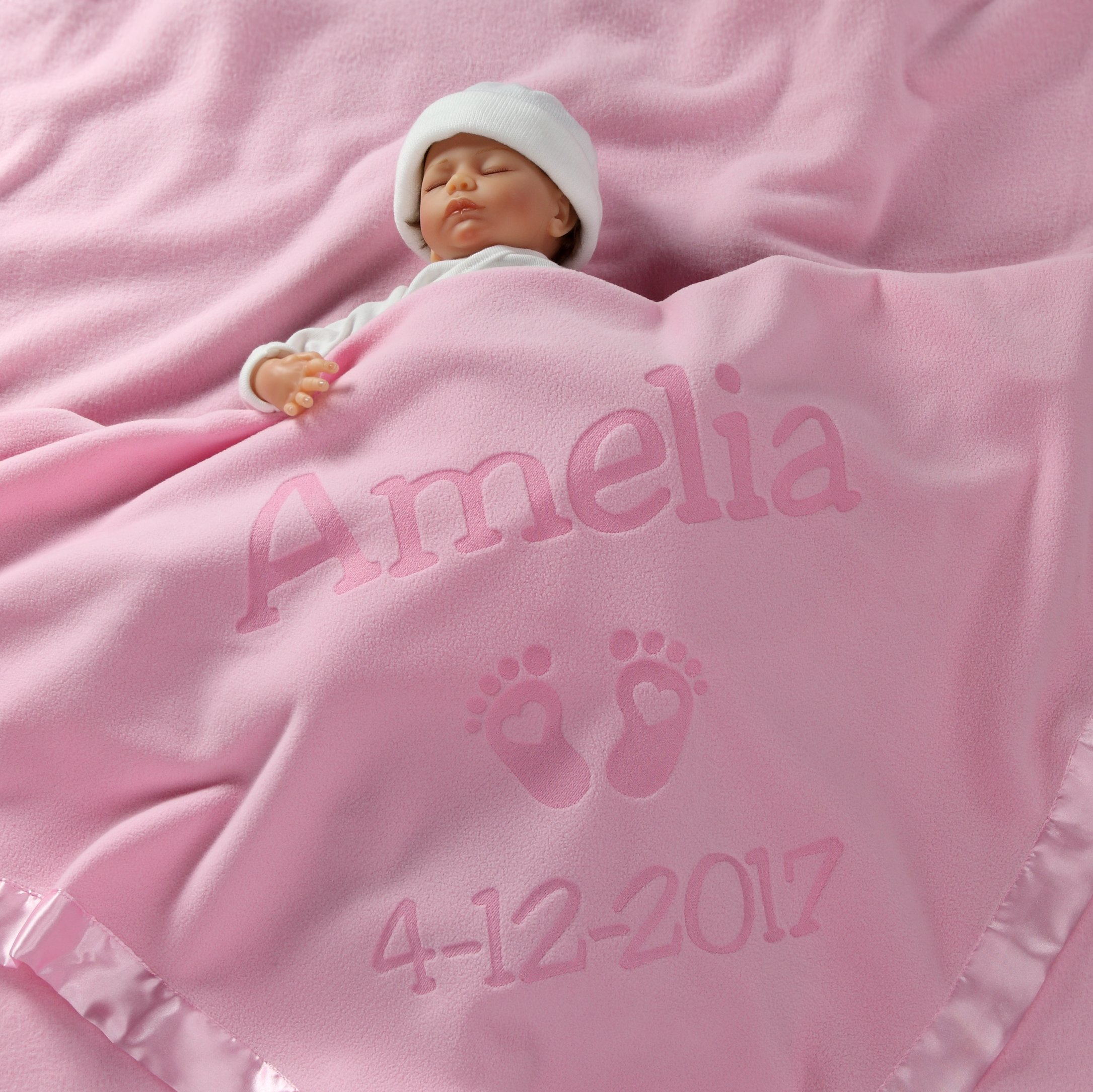 Personalized Newborn Gifts for Baby Girls, Boys, OR Parents - (36 x 36 inch) Satin Trim Custom Blanket with Name Plus Hearts and Feet Design - Add Birth Date, Weight (Pink, Blue - Long Text) by Custom Catch