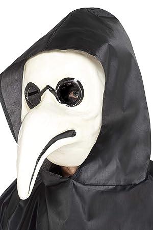 Smiffys Smiffys-45036 Auténtica máscara de Doctor de la Peste Veneciana, Color Blanco,
