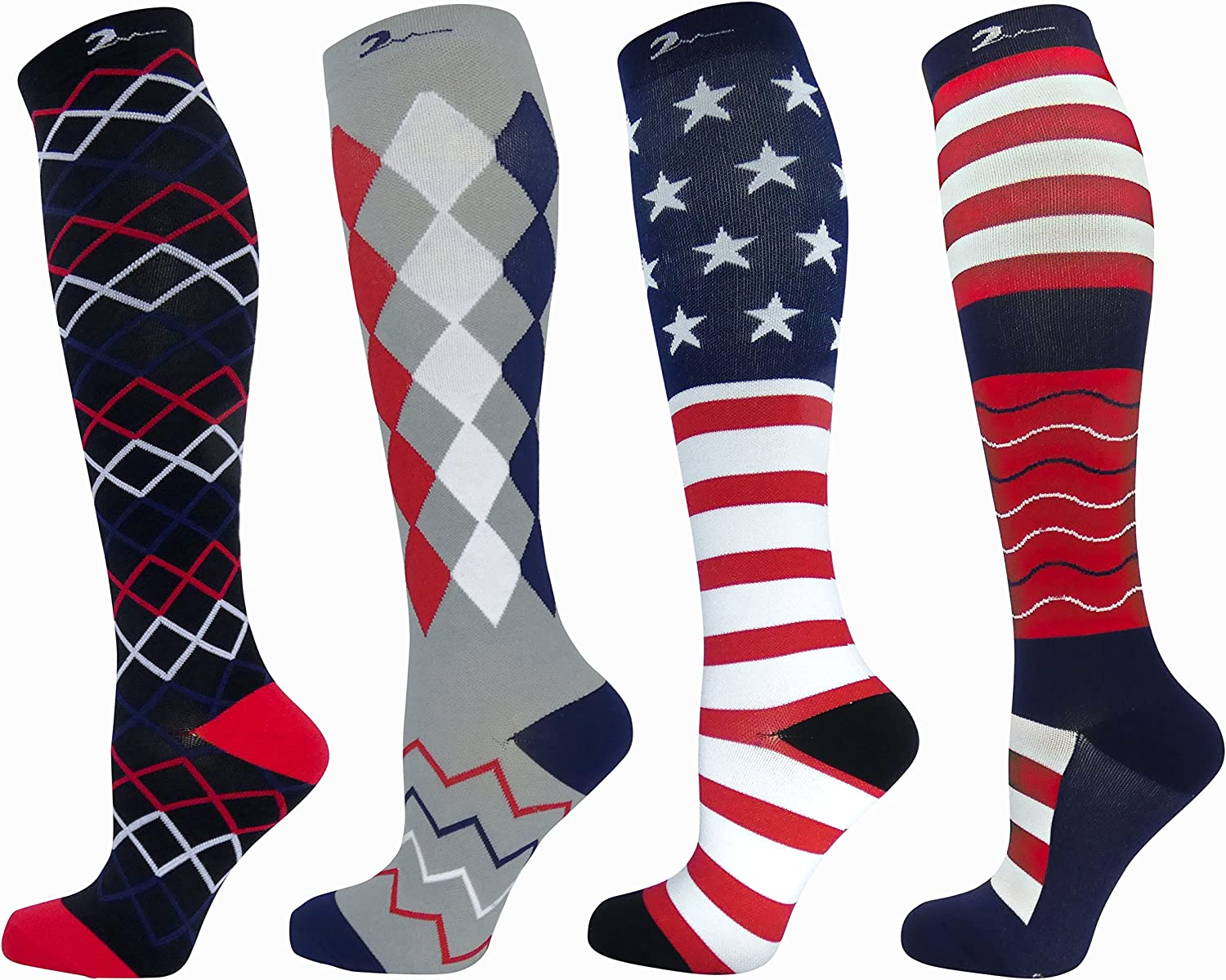 Swell Relief Patriotic Graduated Moderate Compression Sock Set of 4 Pair