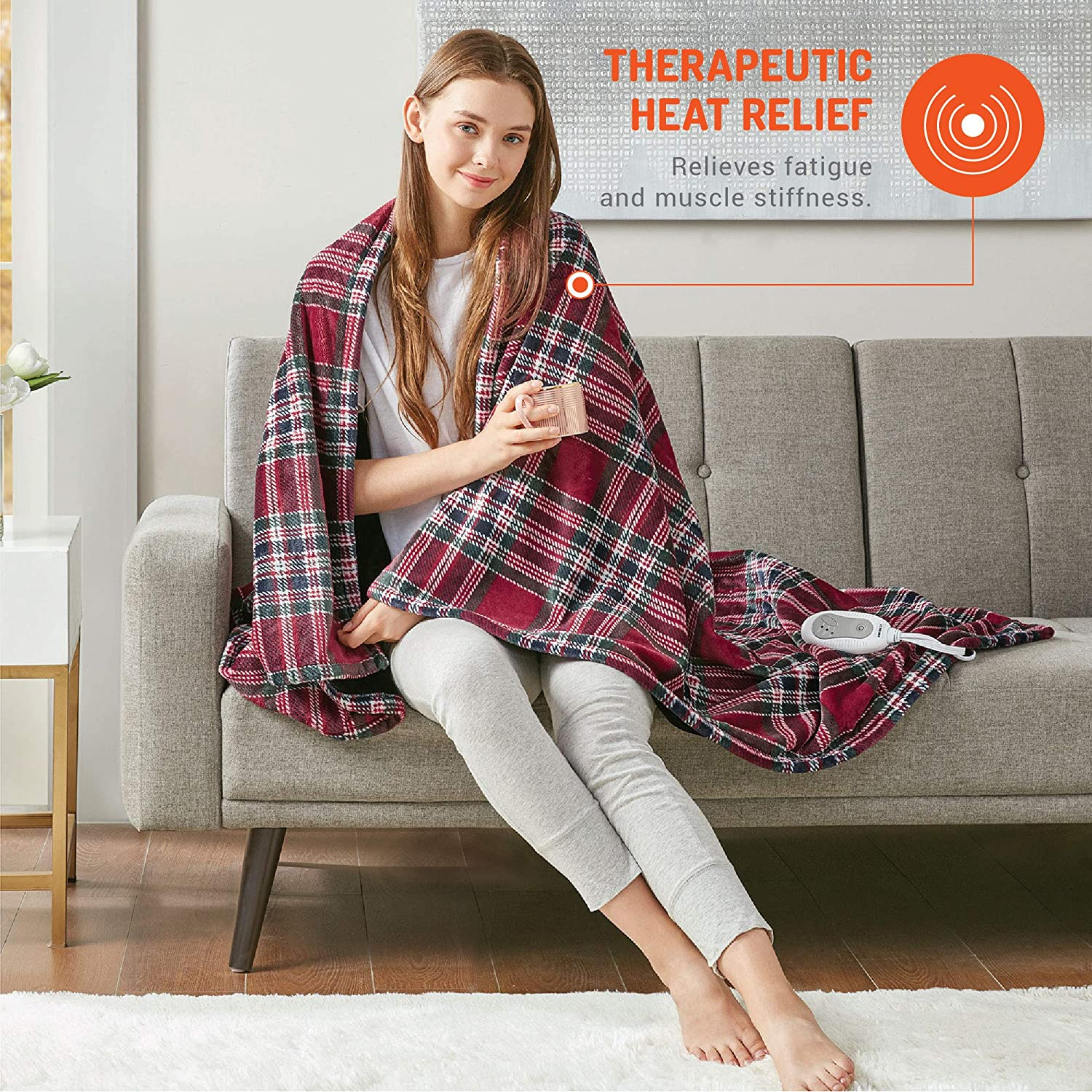 Plush Microlight Degrees of Comfort Electric Heated Throw Blanket 3 Heat Settings Easy to Wash 50x60 Beige UL Certified /& Low EMF Radiation 6ft Cord and 3ft Controller Cable Fast Heating