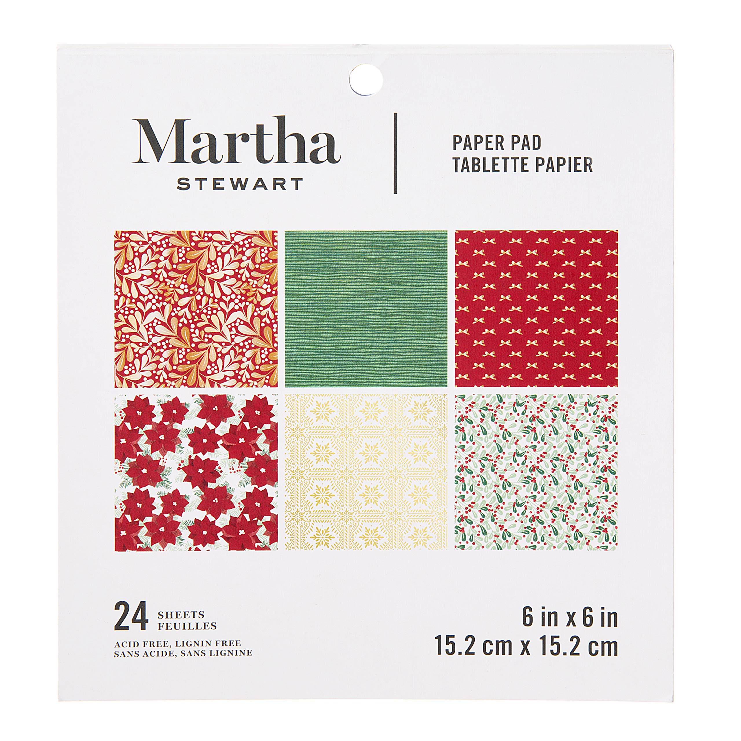 Martha Stewart 30068359 Paper Pad-Red/White/Greenery 6x6 Paperpad 6 x 6 inches Multicolor by Martha Stewart (Image #1)